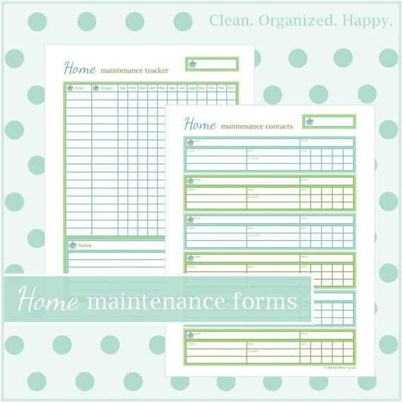 home maintenance forms planner printables 2 documents instant