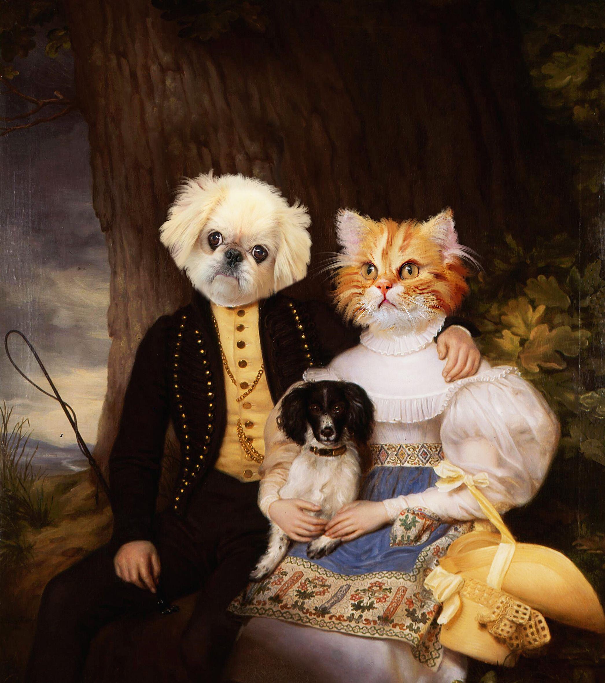 two pets portrait on commission,Custom Pet portrait,Custom