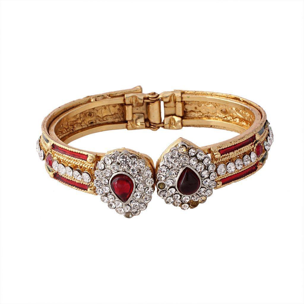 Maroon gold plated austrian diamond bangle products pinterest