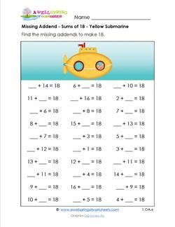 Missing Addend Worksheets - 1st Grade Addition - Sums of 18 ...