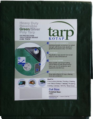 Kotap 12ft X 25ft Heavyduty 12 By 12 Cross Weave 8mil Reversible Greensilver Poly Tarp Item Tgs1225 Be Sure To Check Out T Tarps Heavy Duty Tent Accessories