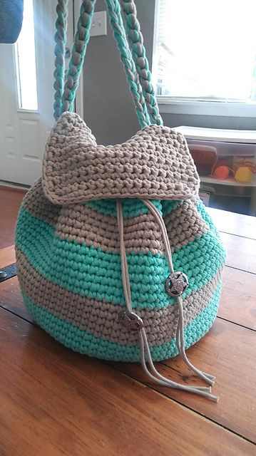 Slouchy Stripes Backpack pattern by Amanda Slate | Pinterest ...