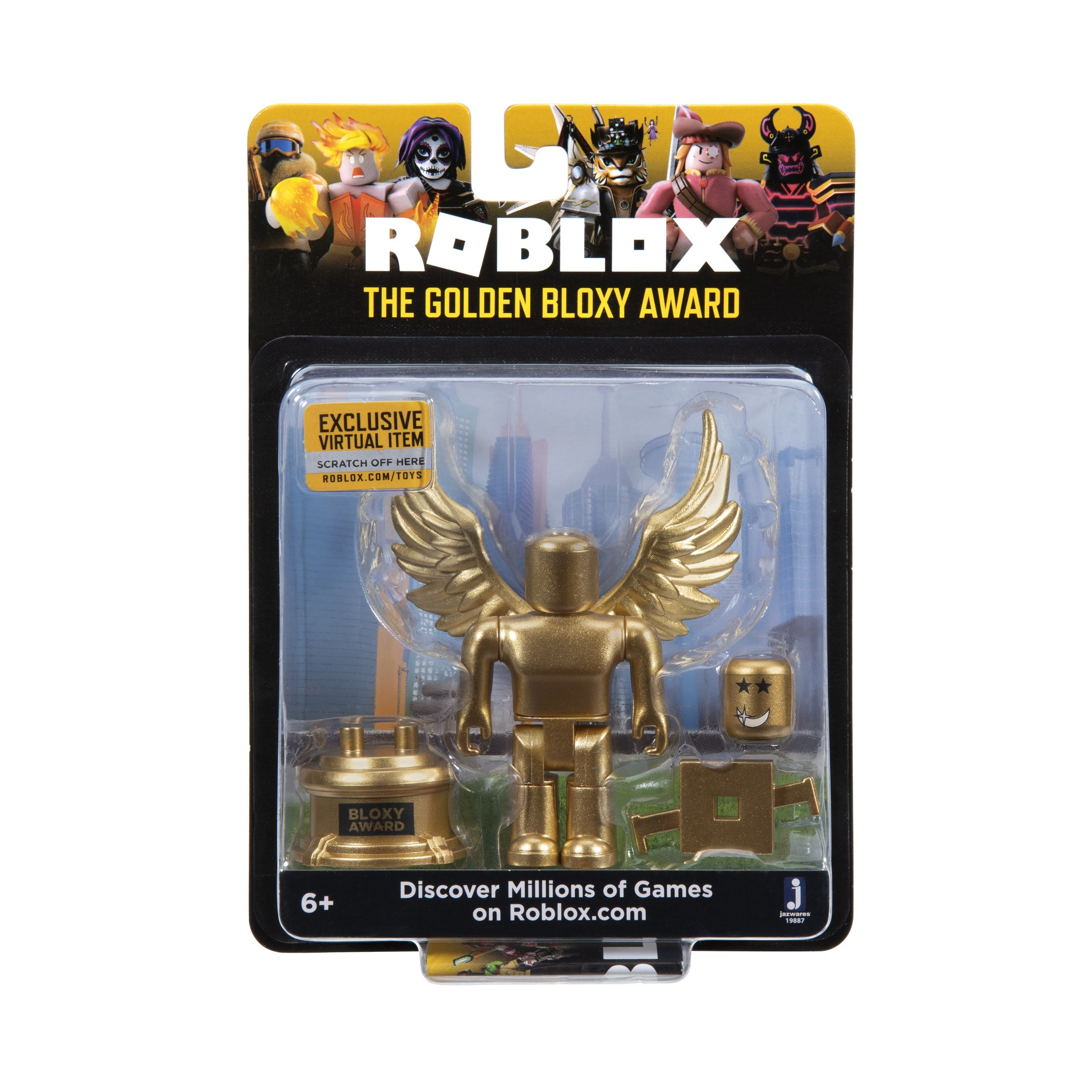 Roblox Celebrity Collection The Golden Bloxy Award Figure Pack Includes Exclusive Virtual Item Walmart Com In 2020 Roblox The Incredibles Awards