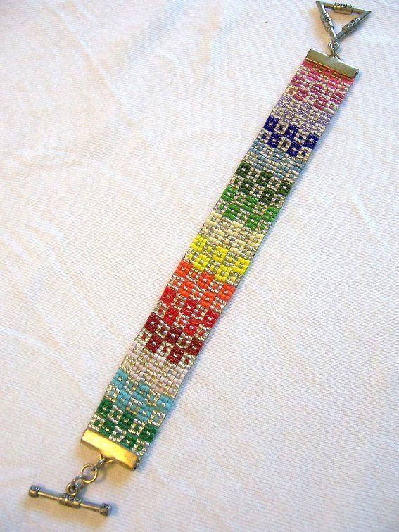 custom made bracelet loom beaded cuff rainbow geometric