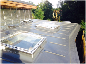 2no Skylights Installed Within Our Sarnafil Roof Covering All Up Stands Created By Us Using Sarnafil Membrane Allo Skylight Roof Covering Roof Light