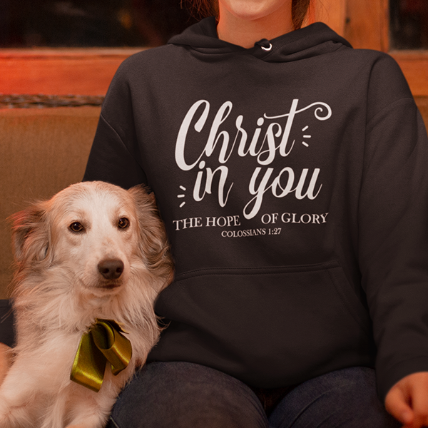 Christ in you the hope of glory Colossians 1:27 Bible verse hoodie