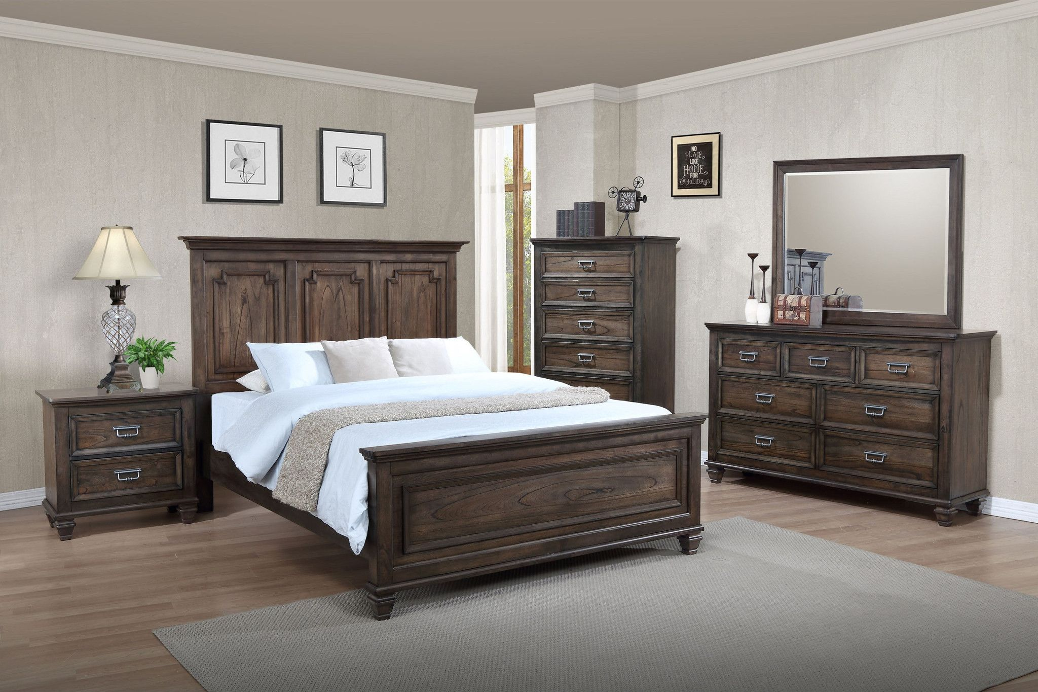 Campbell 5 Piece Bedroom Suite Traditional shapes with a