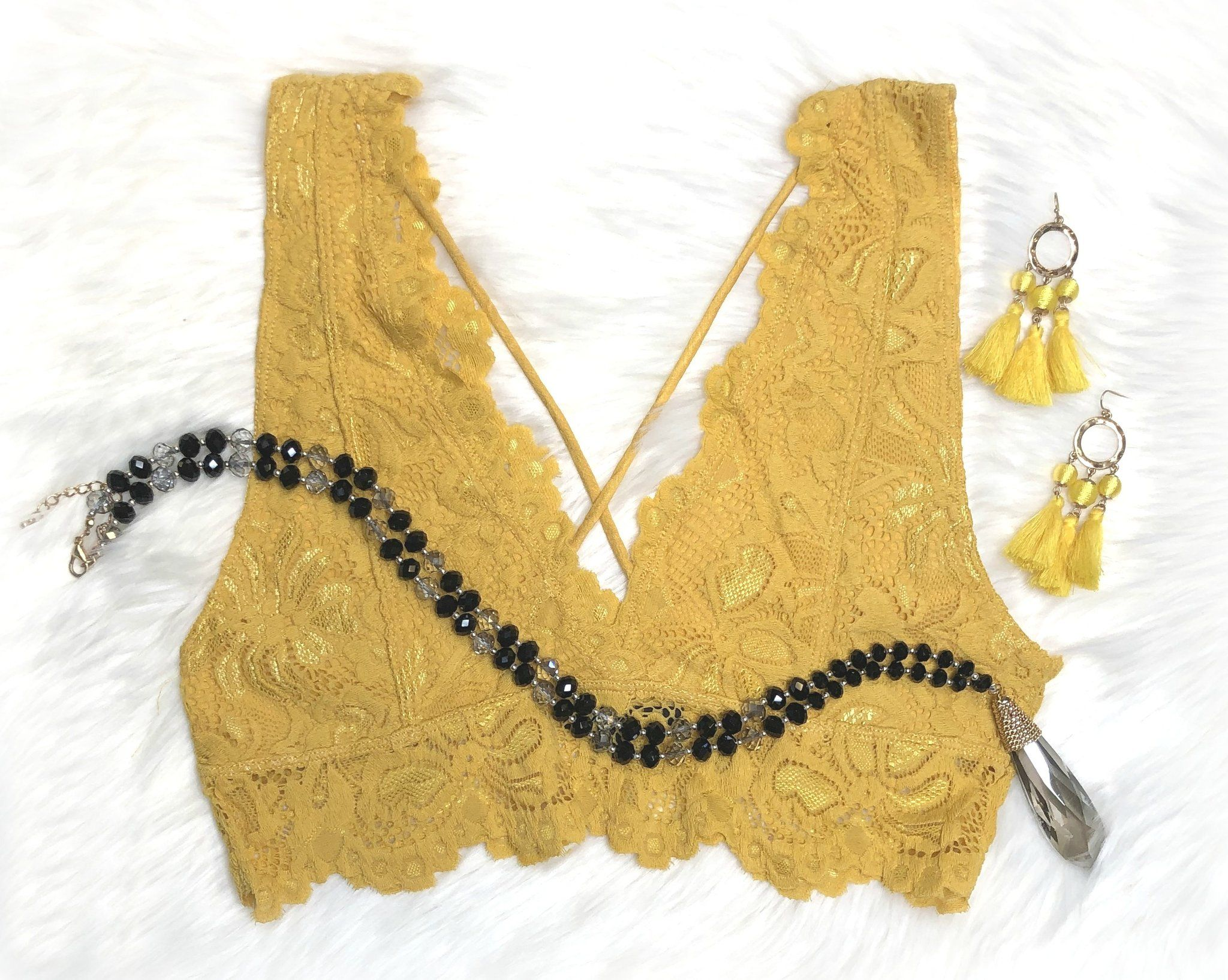 fe4e49e8aa5c09 Lace Bralette  Sunflower Trendy lace bralette with a caged front look