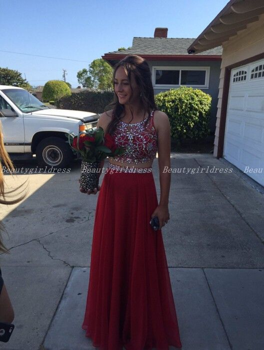 Bg1052 High Quality Prom Dress,Two Piece Prom Dress,Beading Prom Dresses,Chiffon Red Prom Dress