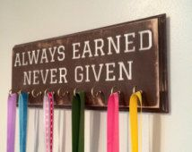 Custom Running Medal Holder, Medal Holder, Always Earned Never Given, Medal Display Rack, Running Medal Display, CUSTOM COLOR CHOICE