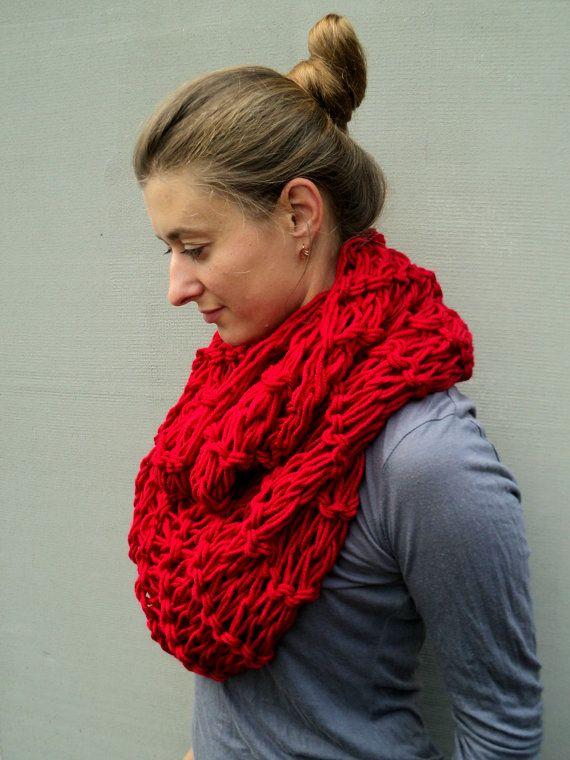 Knitted  Scarf Tube Knit Scarf  Infinite Loop Scarf by skeinofwool