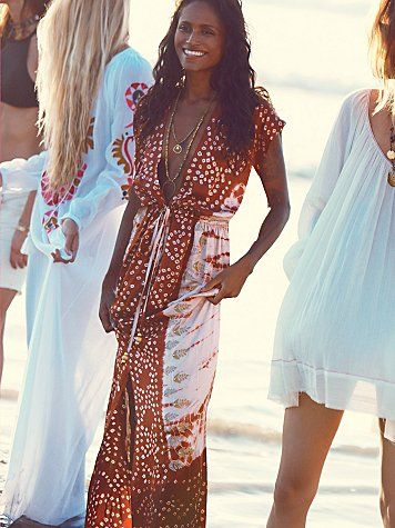Free People Embroidered Knot Tie Dye Robe