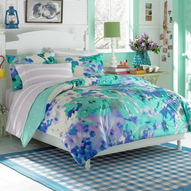 teenager-zimmer-ideen-madchen-mintgruene-wandfarbe-blumen, Schlafzimmer entwurf