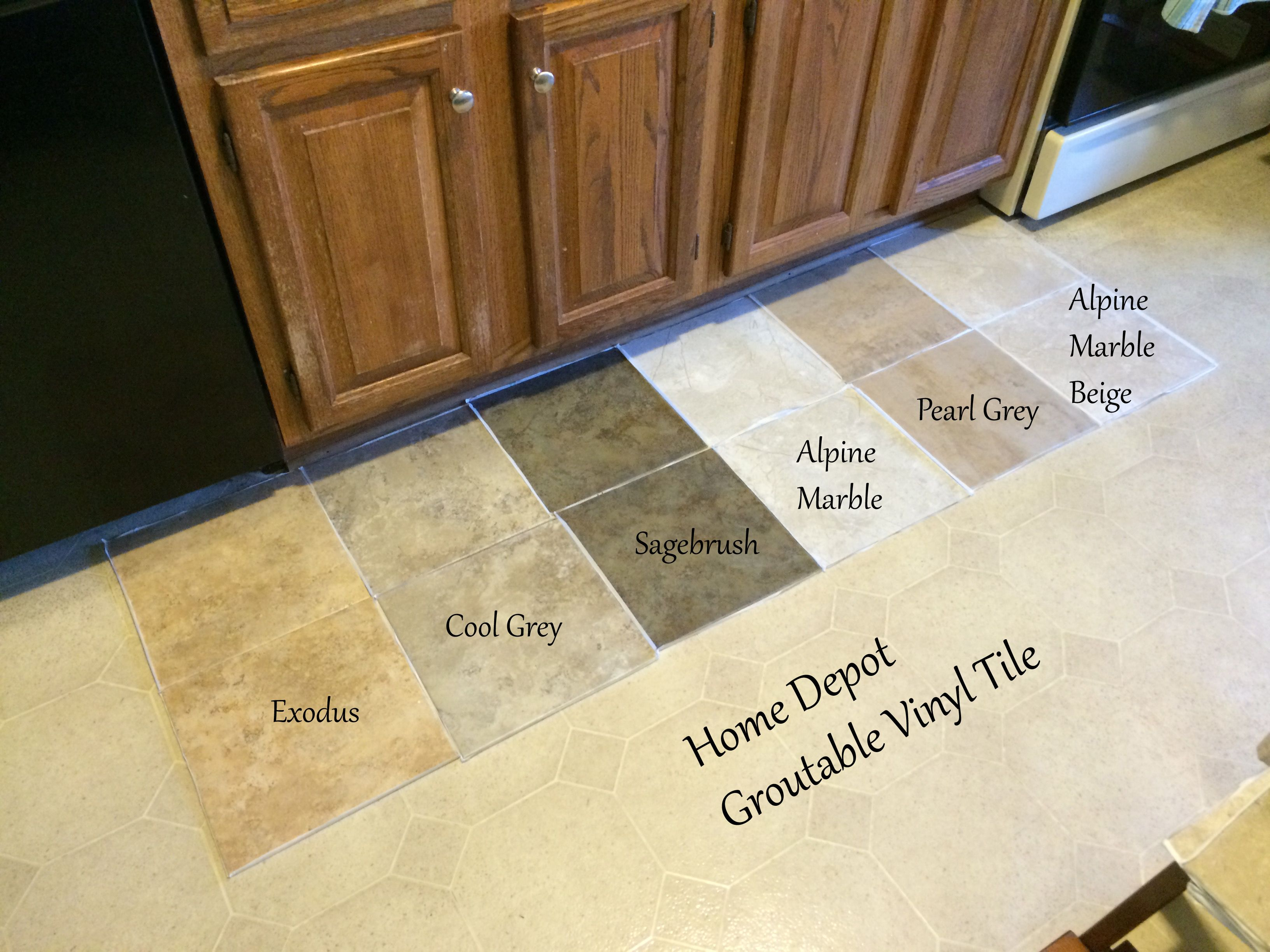 Looking for kitchen flooring ideas found groutable vinyl for Floor vinyl tiles