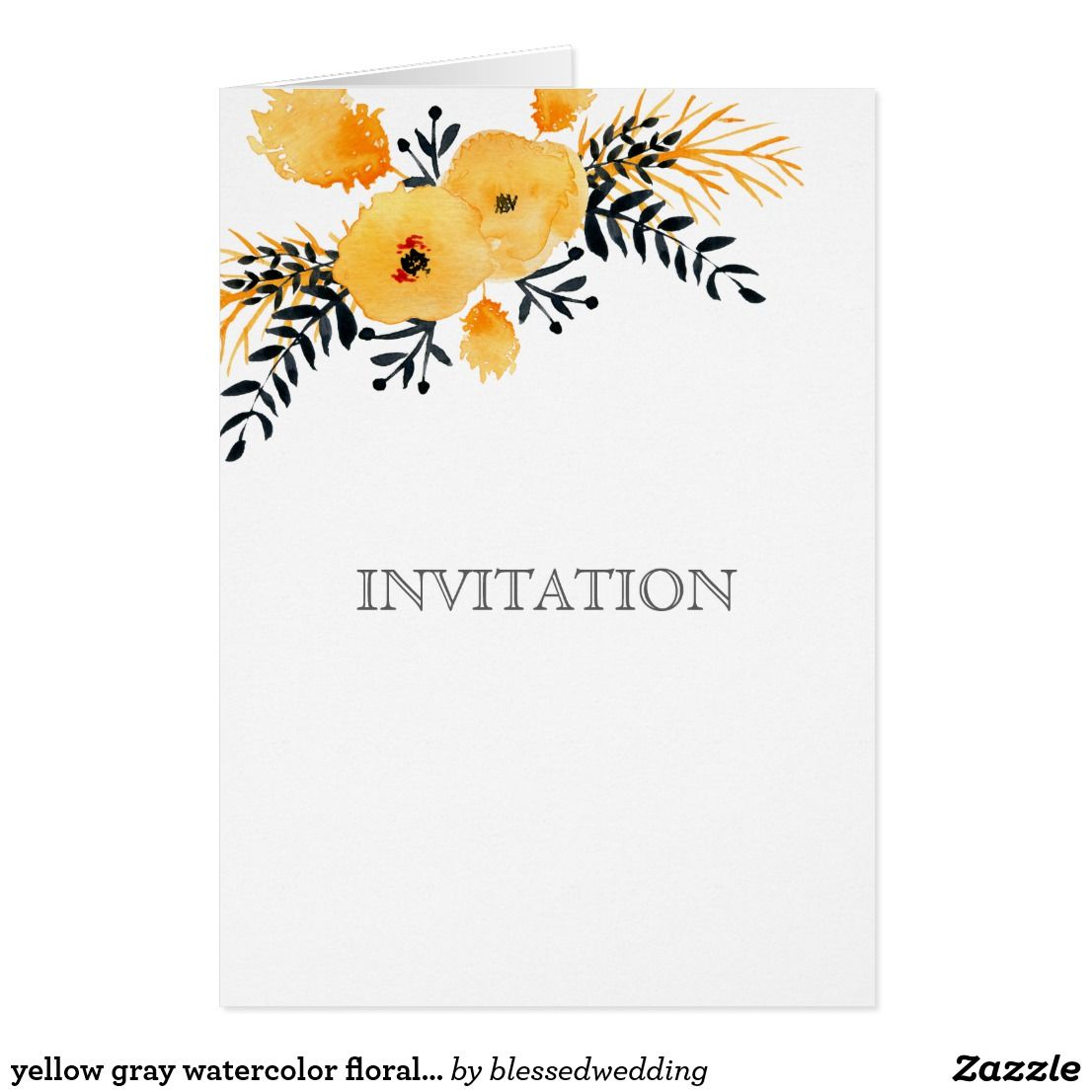 Yellow Gray Watercolor Floral Wedding Invitations Yellow Gray Flo