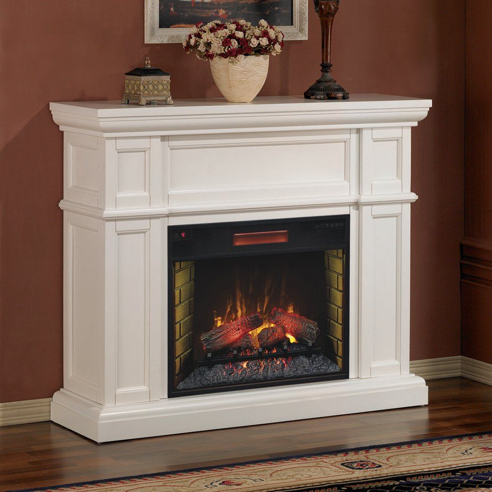 artesian infrared electric fireplace mantel package in white