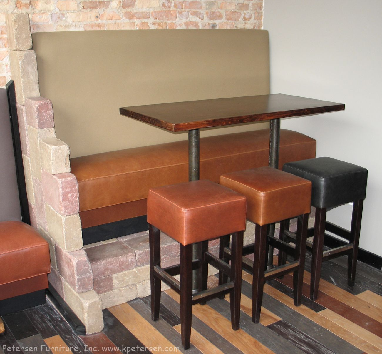 banquette booth bar height with brick base decor