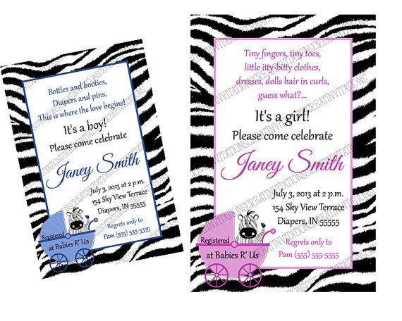 Zebra Jungle ANY COLORS  Birthday or Baby by CreatinVitations, $30.00