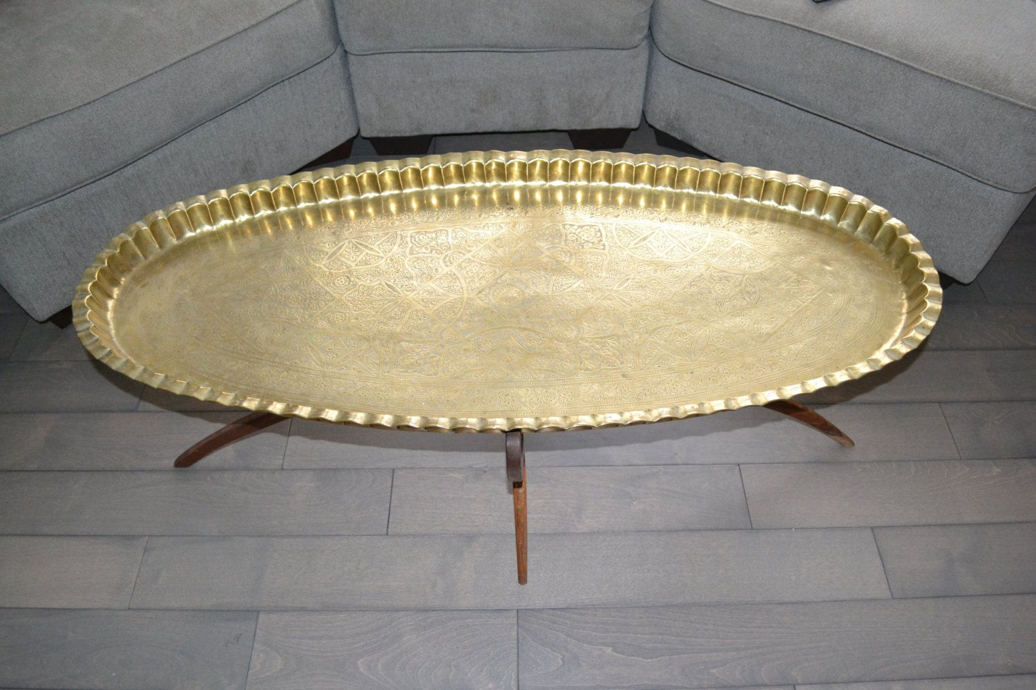 Vintage Moroccan Brass Tray Top Table With Wooden Base Mid