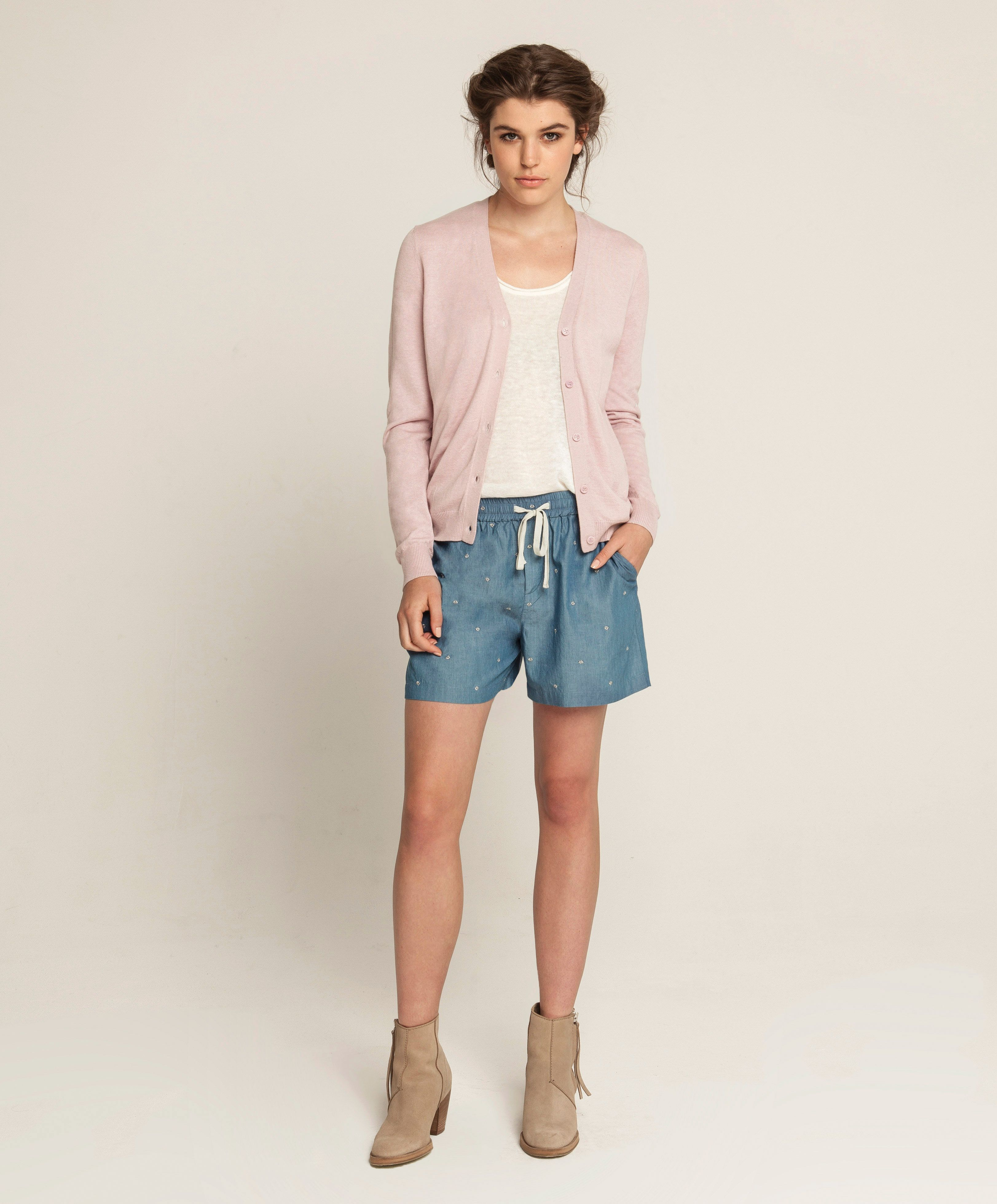 Fully Fashioned Linen Tank - Off White, Cashmere Bamboo Classic Cardigan - Rose Water, Embroidered Lounge Shorts - Sky Blue Indigo