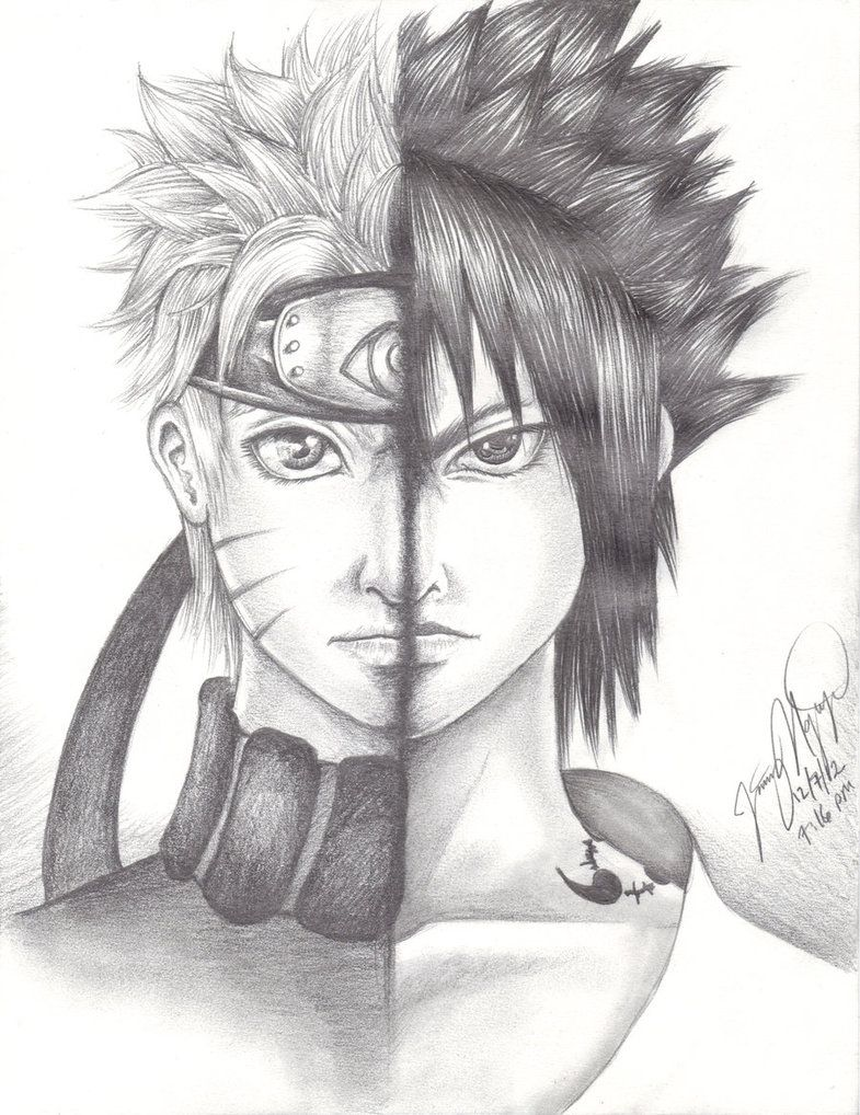 Naruto And Sasuke Pencil Drawing Trying To Put A Realistic Spin