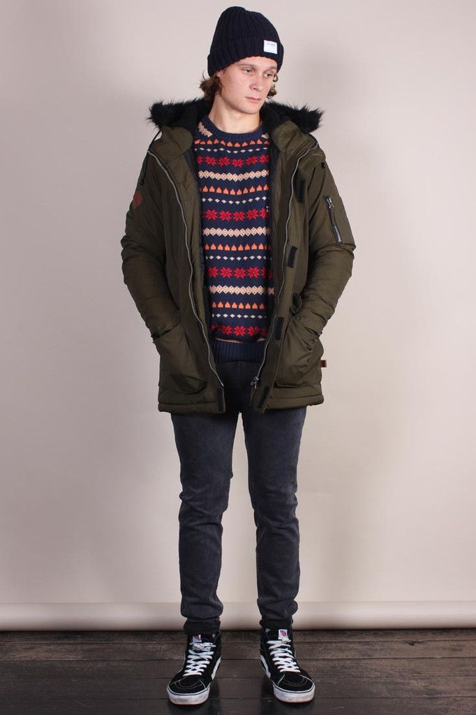 Bellfield Oxide Parka – Khaki colour hooded jacket with black faux-fur  lined hood. a0fcf34a167