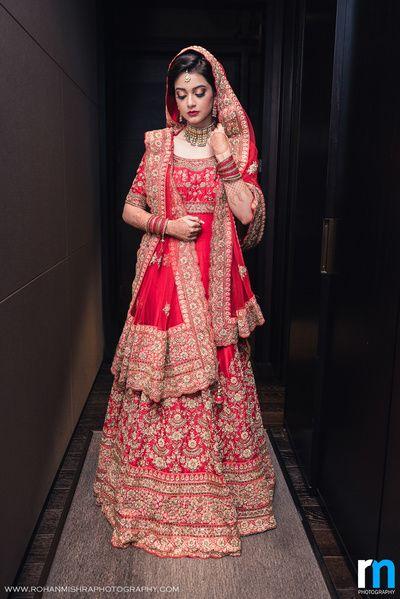 1285b4ac06667 muslim bride, muslim bride in red anarkali, red bridal anarkali, red and  gold…