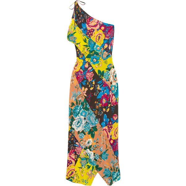 Diane von Furstenberg One-shoulder printed silk crepe de chine maxi... (24.105 RUB) ❤ liked on Polyvore featuring dresses, multi colored maxi dresses, floral maxi dress, flower print maxi dress, silk dress and colorful maxi dress