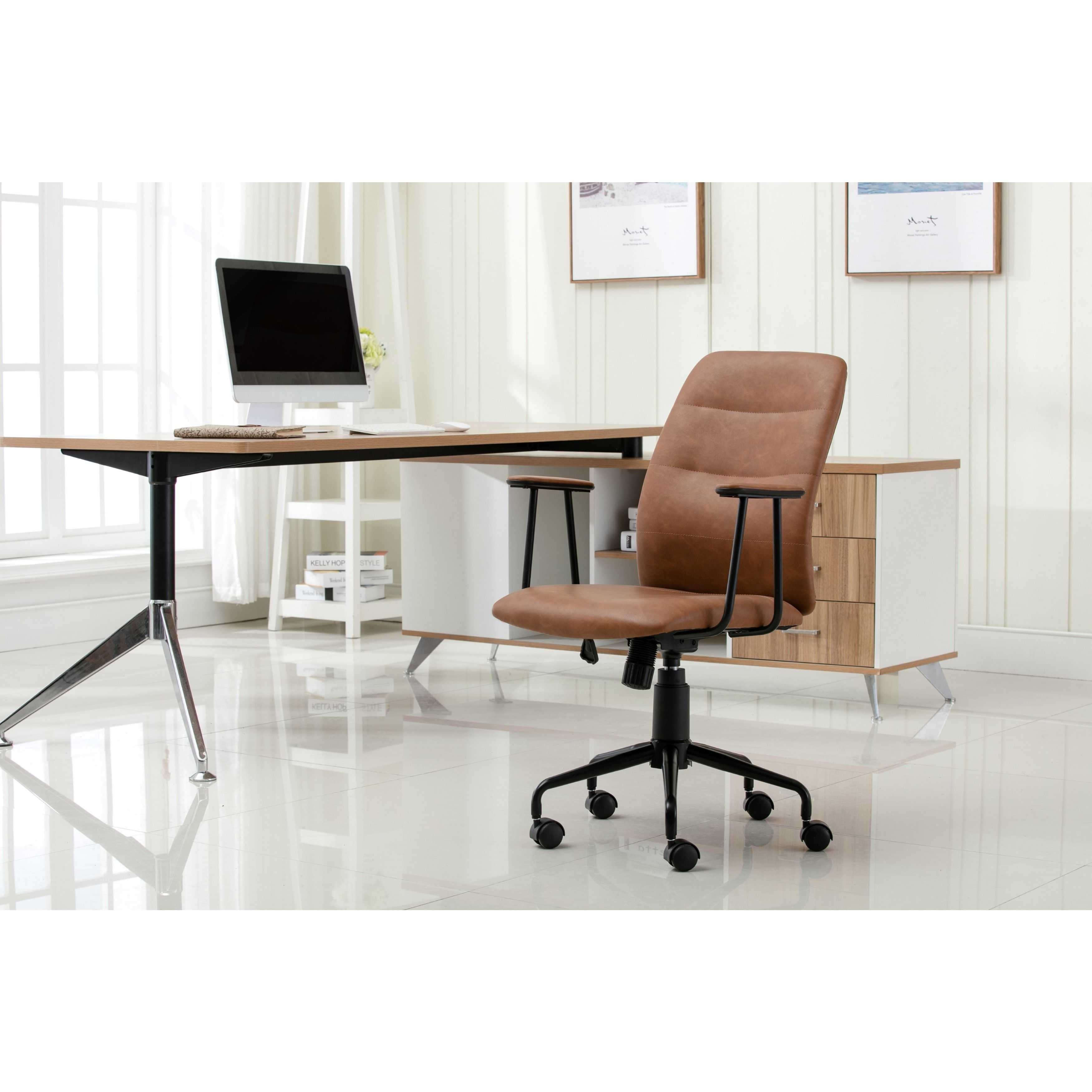 porthos home blanche office chair (brown) | outlet store, free