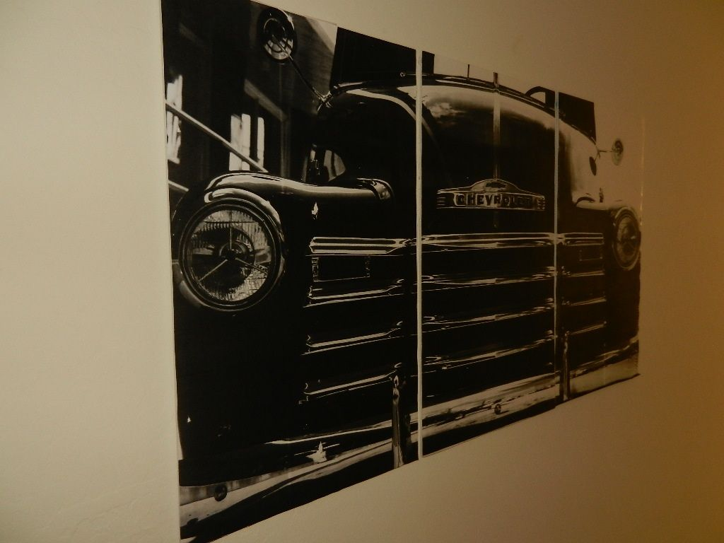 Take a favorite photo and get an engineer's print done at Your fav print store! This was spray adhesives on foam core.