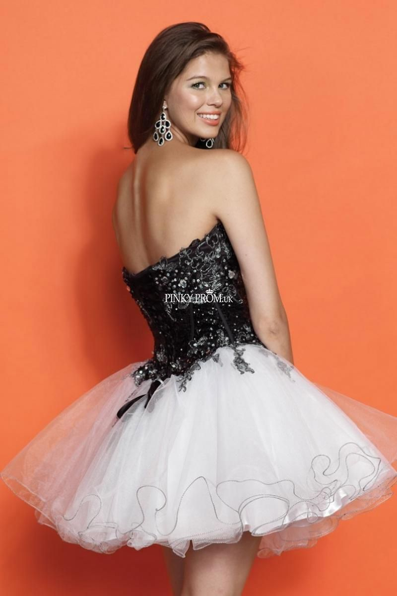 Black and white a line strapless applique layered tulle short prom
