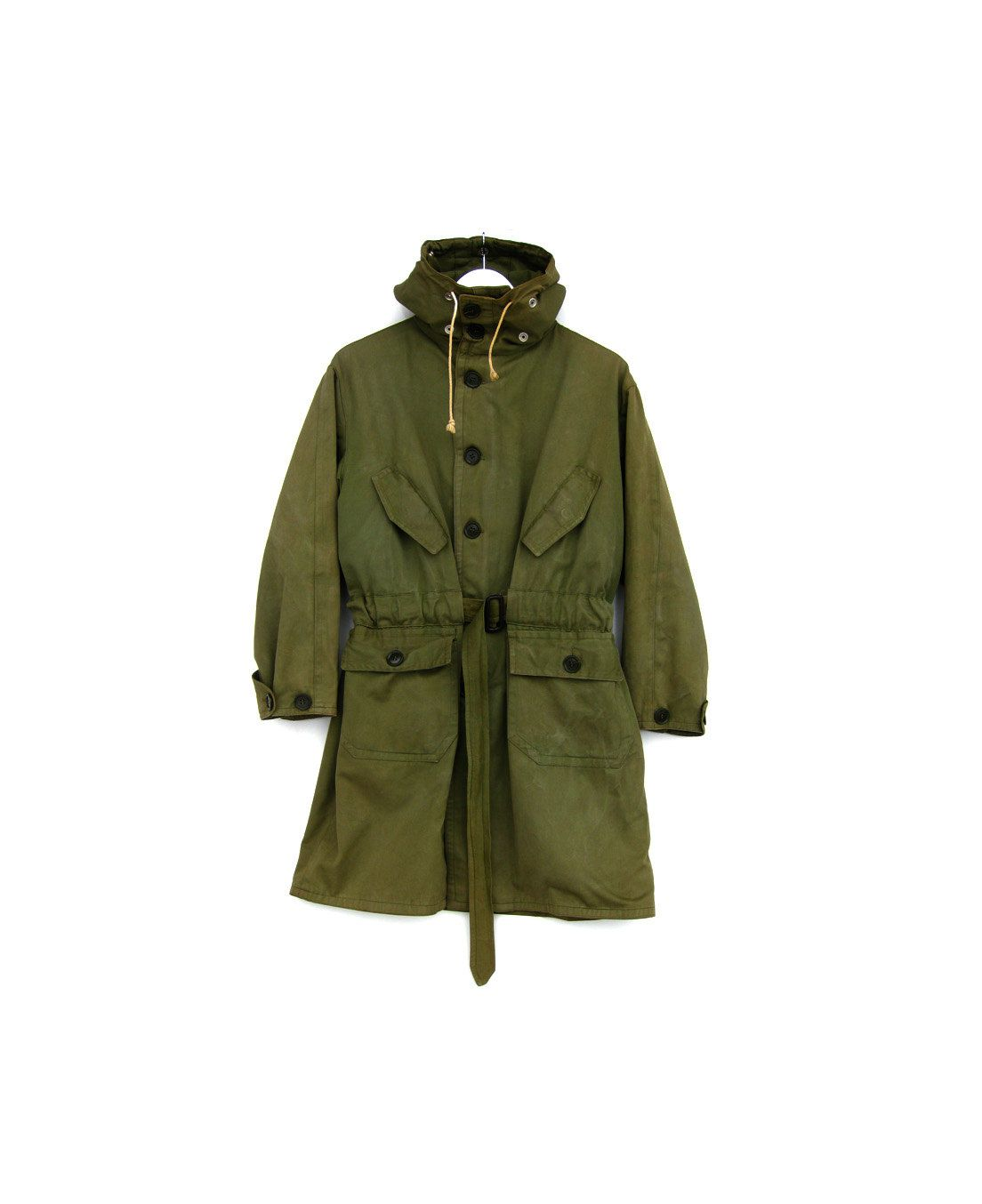 Vintage Military Jacket Olive Green Army Coat Hooded Belted Long Sleeved Outterwear 64 00 Via Vintage Military Jacket Military Outfit Vintage Military [ 1354 x 1104 Pixel ]
