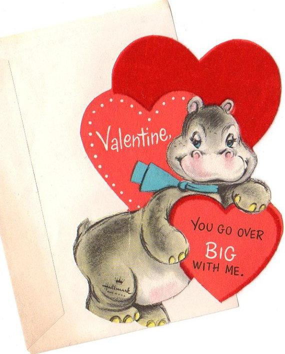 Vintage Valentine Fuzzy Hippo Hallmark By Vintageboxofdelights 400