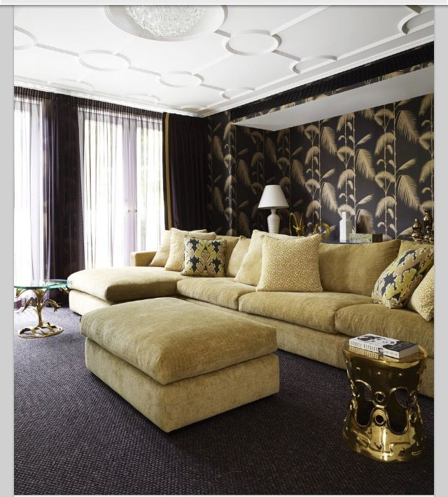Black And Gold Living Room Images: Black Tan Gold Living Room