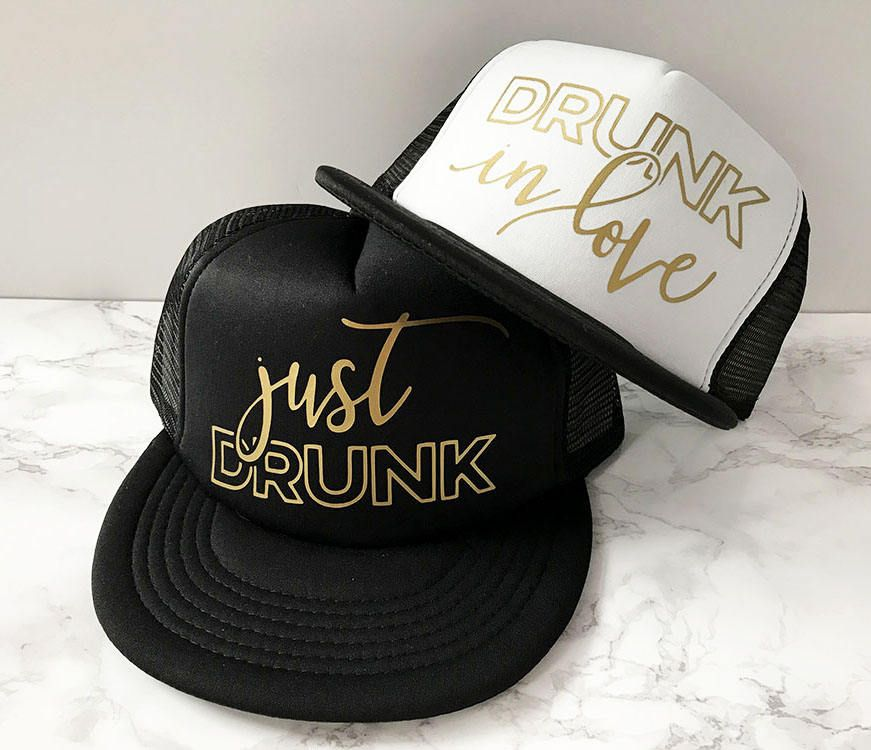 ca08a23a Drunk In Love Hat + Just Drunk Hats | Bachelorette Hat | Bridesmaids Hats |  Beyonce Bachelorette | Bridal Party Hats by designtwentyfive