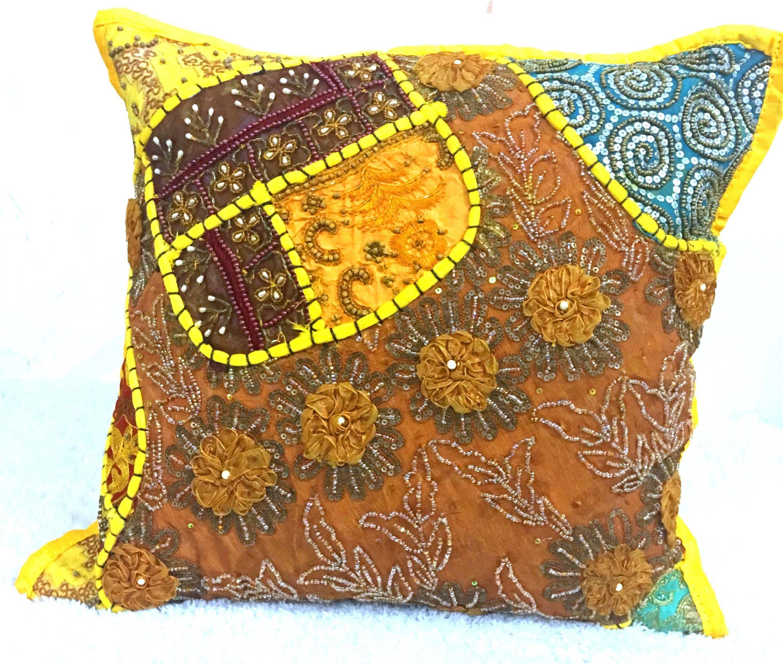 Indian Vintage Fabric patchwork Beads Sequins Boho decor