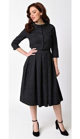 41133e54c96d Lindy Bop 1950s Black Jacquard Marianne Swing Dress   Jacket Set ...