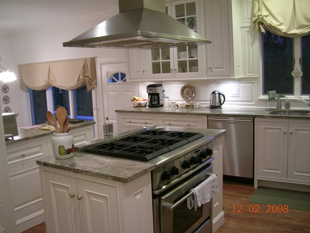 Kitchen Island Ideas With Range cupboards on either side of range to make an island :) | for the