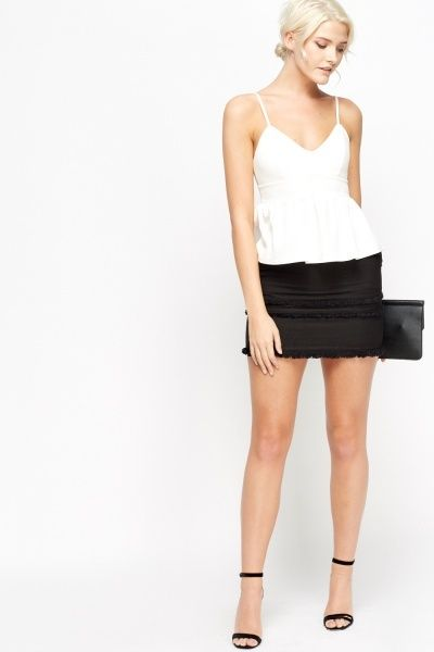 Fringe Trim Mini Skirt