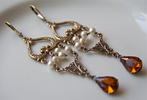 Brass and amber chandelier earrings gypsy boho earrings brass and brass and amber chandelier earrings gypsy boho earrings brass and pearl earrings heart aloadofball Image collections