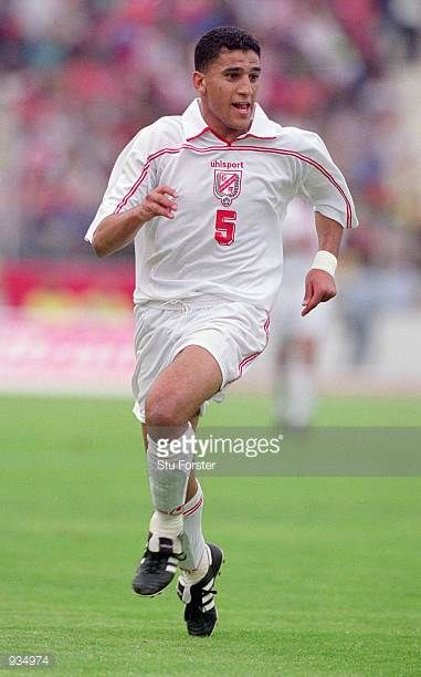 Ziad Jaziri of Tunisia in action during the 2002 World Cup Qualifier against Ivory Coast played at the El Menzah Stadium in Tunis Tunisia The match...