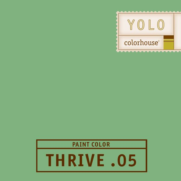 YOLO Colorhouse THRIVE .05:  You can almost smell the juniper.  Is reminiscent of 1940s chalkboard green.  Really sings in the kitchen. $35.95