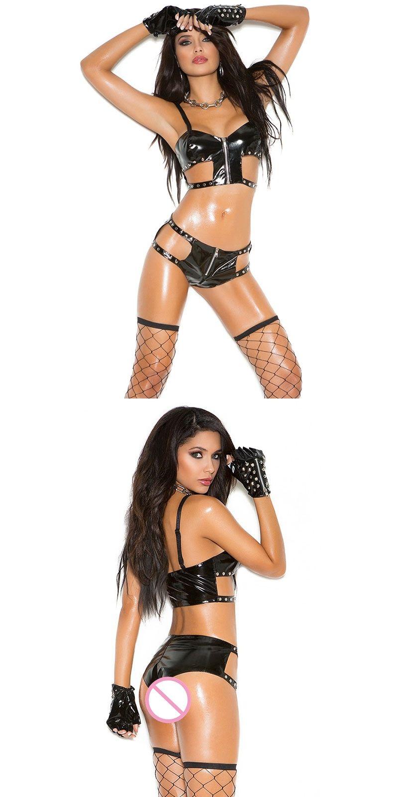 4bf18be051 PVC Leather Fetish Lingerie Set 2017 Wet Look Latex Vinyl Lingerie Sexy Hot  Erotic Rivet Spaghetti Strap Bra Underwear Oversize