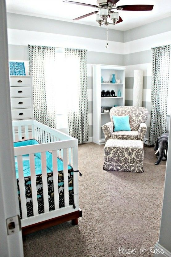 Grey And Blue Elephant Nursery Or Instead Of The Crib A Bed For A