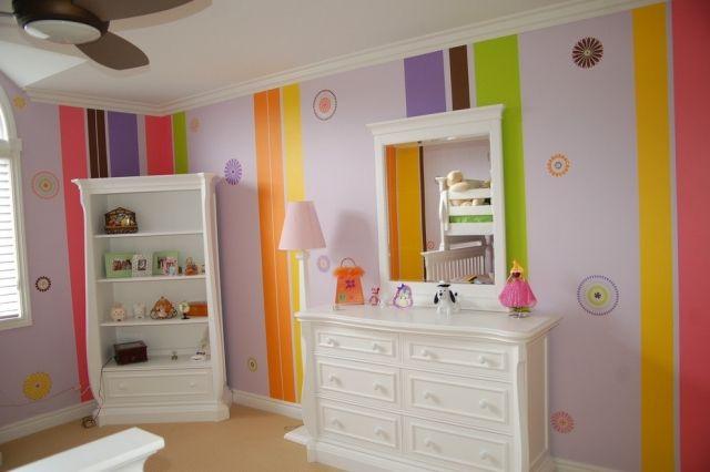 Streifen Muster Wand Streichen Bunte Farben Kinderzimmer