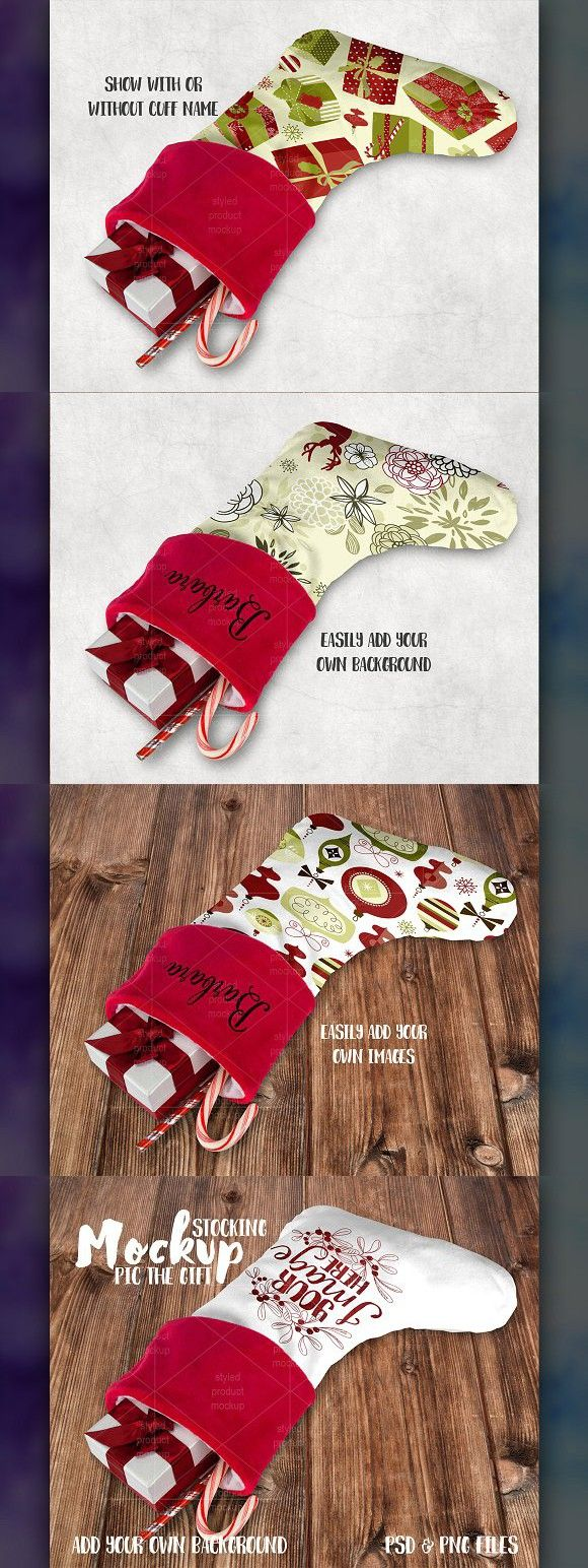 Mockup Templates Christmas stockings, Mockup templates