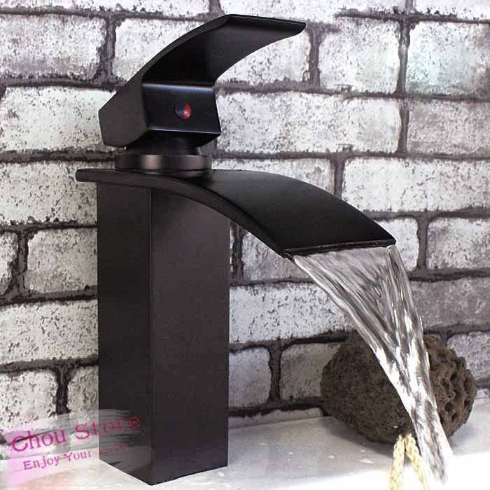 Oil Rubbed Bronze Square Waterfall Bathroom Sink Faucets Basin Mixer ...