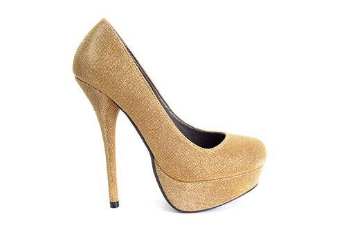 8e1cb55a Zapatos en Tejido Brillo Oro con Plataforma.   - Señora, Tallas Grandes,  Señora, Tallas Pequeñas, Señora, Zapatos con Cuña ó Tacon, Señora, ...