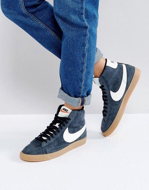 cheap for discount 03150 2ac2e Nike - Blazer - Baskets mi-hautes en daim - Noir