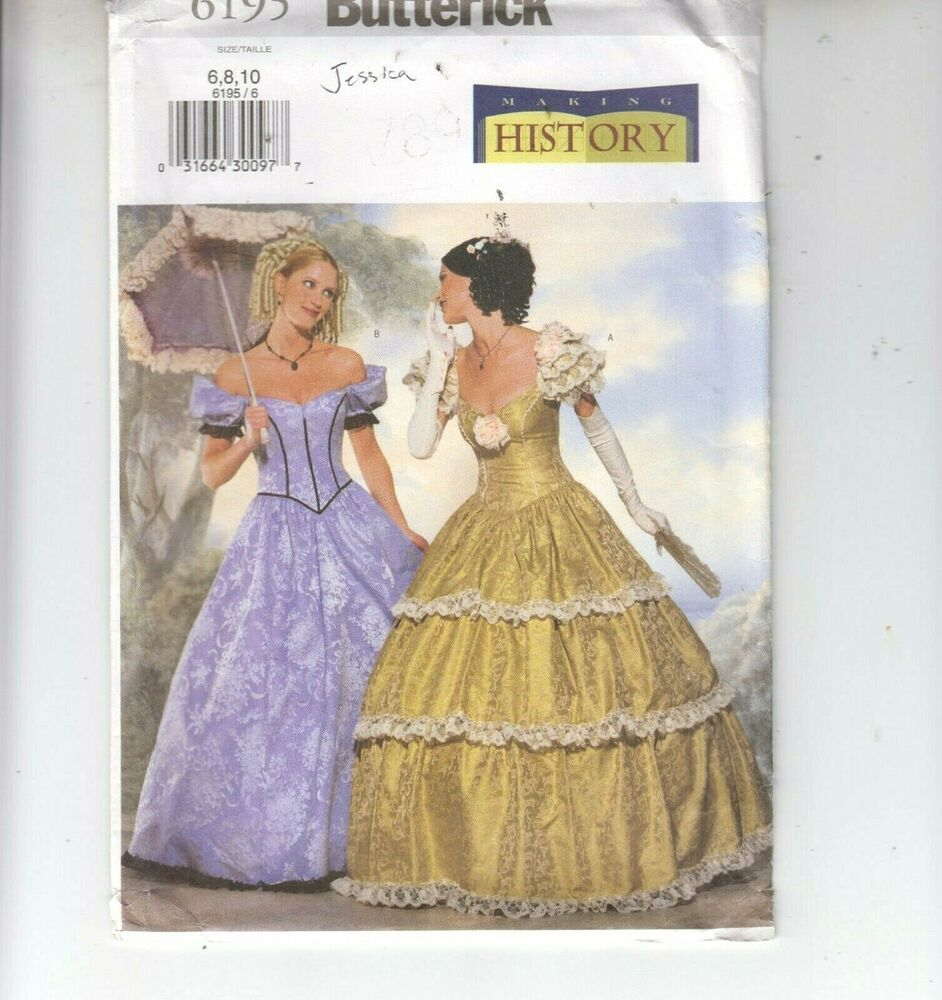 Butterick 6195 Misses Costume Southern Belle Off Shoulder Sewing Pattern 6-10 UC #Butterick #costume #southern #belle #fashion #historicfashion #womensfashion #sewingpattern #freeshipping #dressesfromthesouthernbelleera